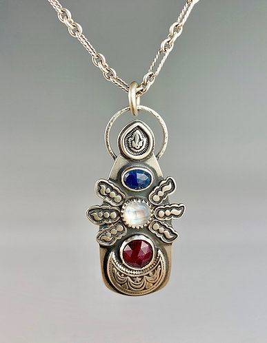 Sapphire, Ruby and Moonstone Necklace