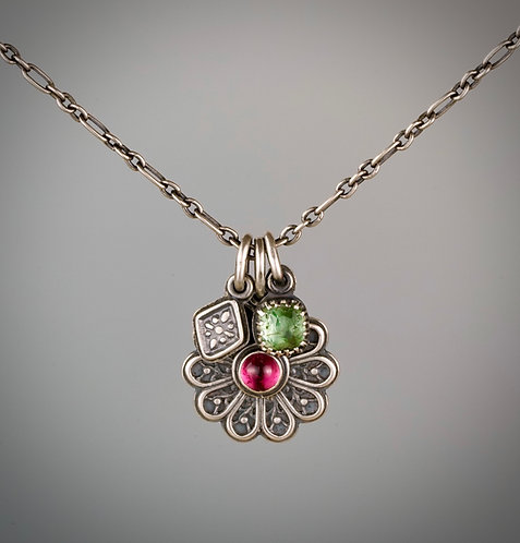 Tourmaline Lace Flower Charm Necklace