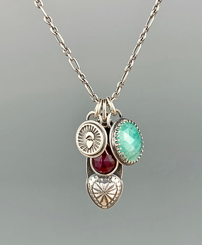 Ruby and Emerald 'Two Hearts' Charm necklace