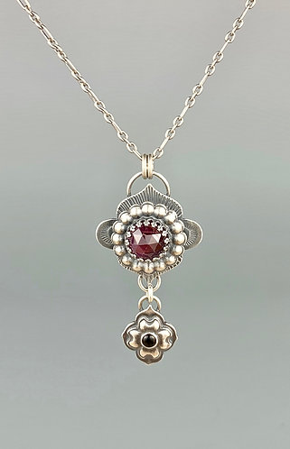 Ruby and Onyx Royal Flower Necklace