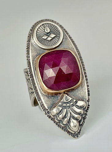 Royal Ruby Sterling and 14K Gold Ring