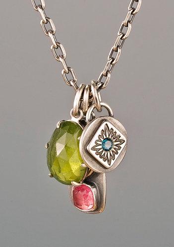 Pink Tourmaline, Vesuvianite and London Blue Topaz Charm Necklace