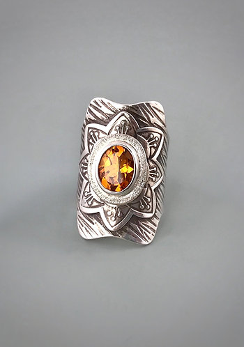 Citrine and Sterling Statement Saddle Ring