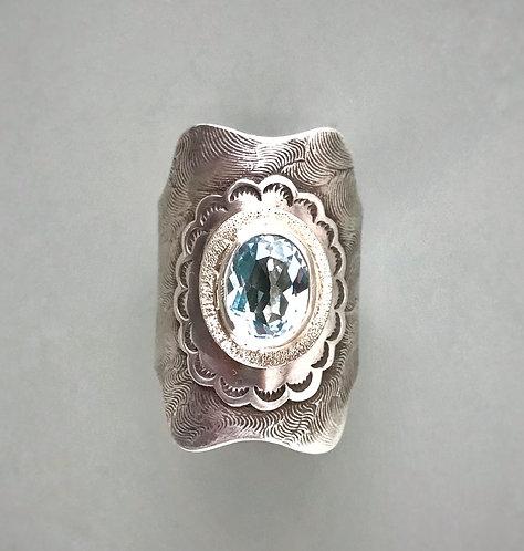 Sky Blue Topaz Statement Ring, Sky Blue Topaz Saddle Ring
