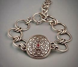 Pink Tourmaline Mandala Link Bracelet.jp