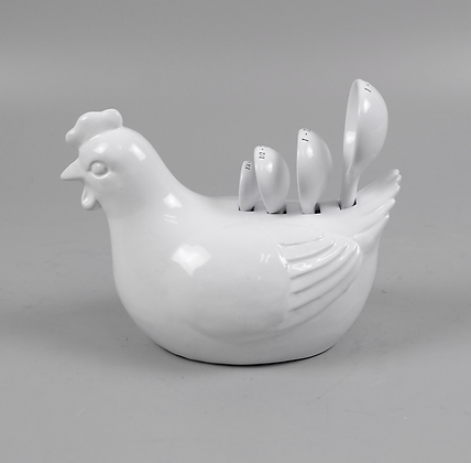 Ceramic Rooster with Measuring Spoons