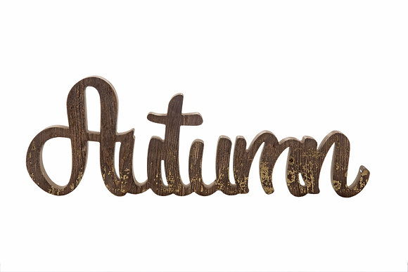 Wood Texture Gold Foil Autumn Word Block