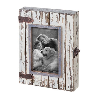"4"" x 6"" White Rustic Wood Box Photo Frame"