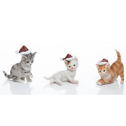 Resin Santa Hat Kitten Figurine Set Of 3