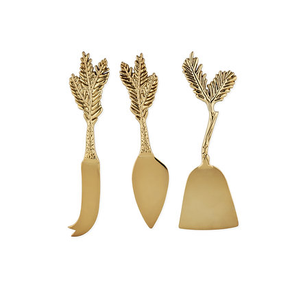 Rustic Holiday: Gold Plated Pine Needle Cheese Knife Set by (Crafted from zinc a