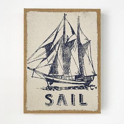 Sailboat on Burlap Artwork