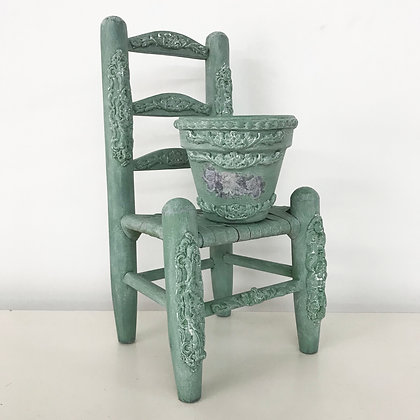 Decorative Wood Chair & Planter Set