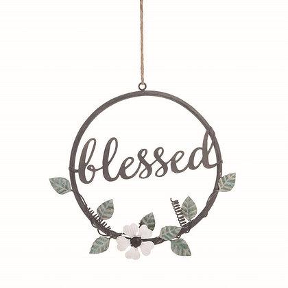 Blessed Metal Floral Wreath
