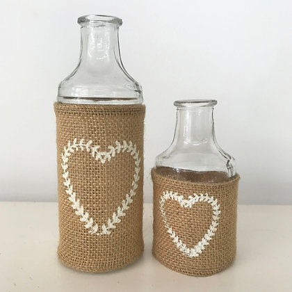 Burlap & Hearts Bottles Set