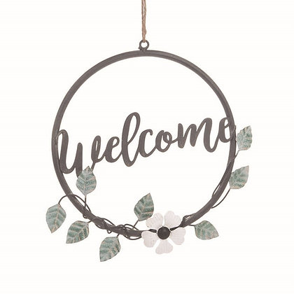 Welcome Metal Floral Wreath