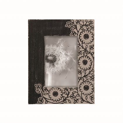 Dark Floral Carved Photo Frame