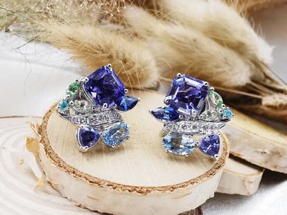 #tanzanite #aquamarine #blue sapphire #tourmaline earring