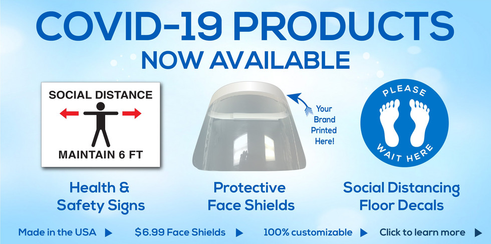 Health and safety signs, protective face shields, social distancing floor decals, and more now available. E-mail sales@identitysystemsinc.com to see what we can do for you.