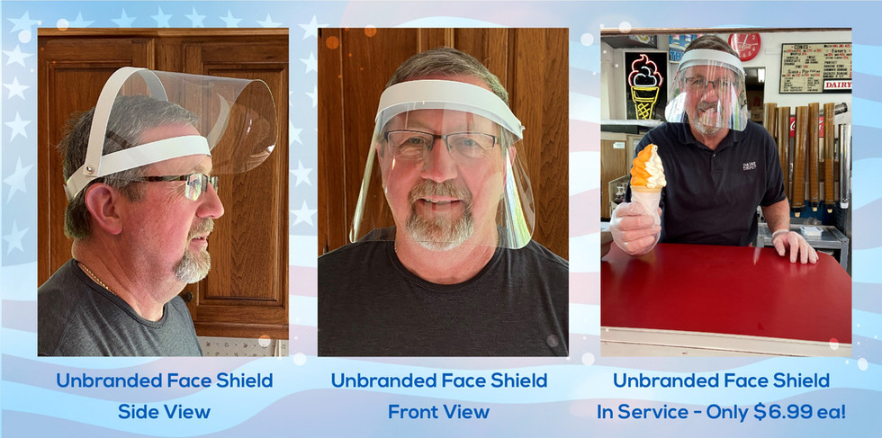 Views of a clear protective face shield shows how the shield not only covers the entire face, but can swivel up to provide relief or the ability to eat or drink as needed. Unbranded only $6.99 each!