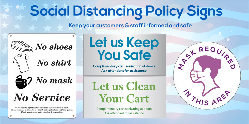 Social distancing signs available for indoor and outdoor use, available printed, engraved, custom shaped - 100% personalized to you!  Call 1-800-733-0034 to get started on your sign program today.