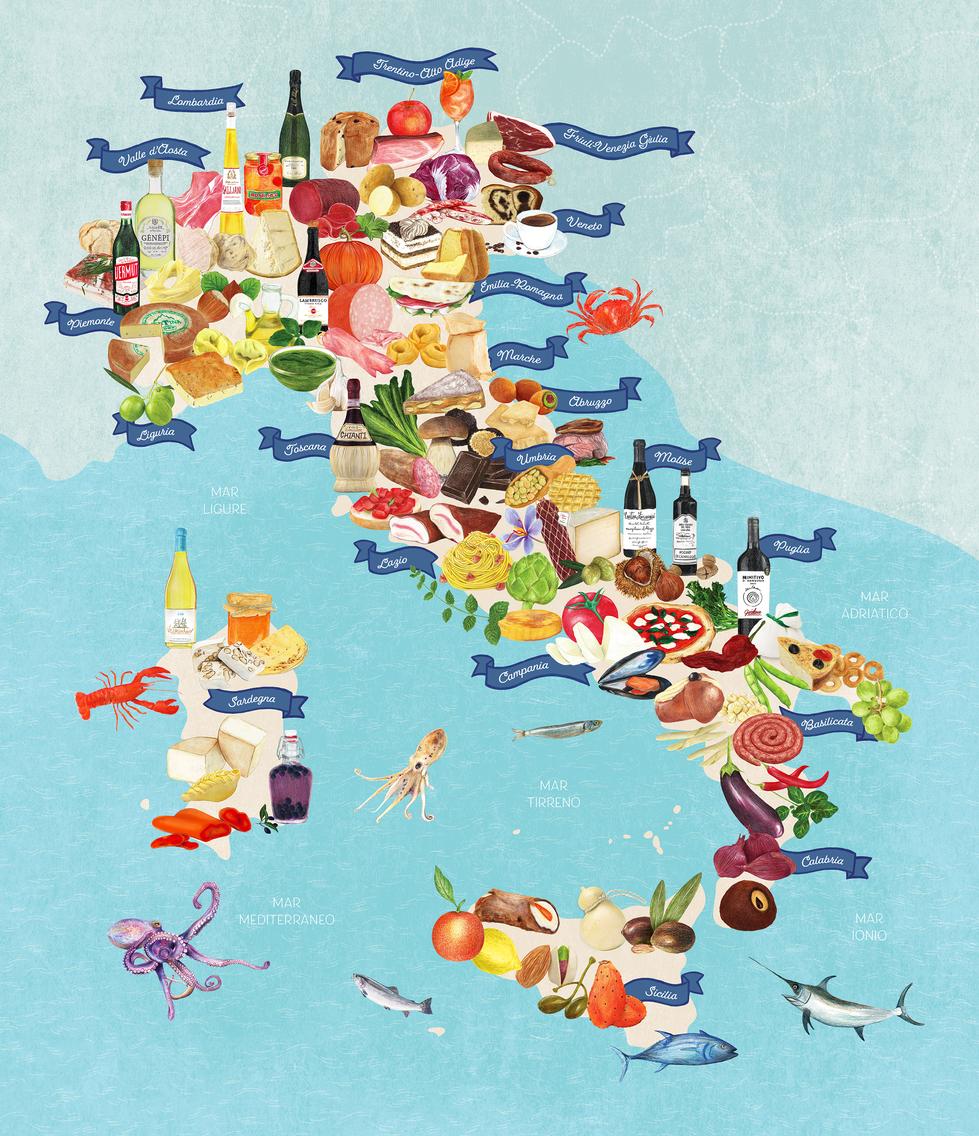 Affiche On va déguster l'Italie