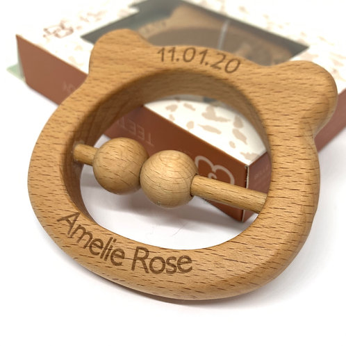 Baby Bear Engraved Rattle Teether