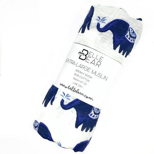 Blue Elephant Extra-Large Muslin Swaddle