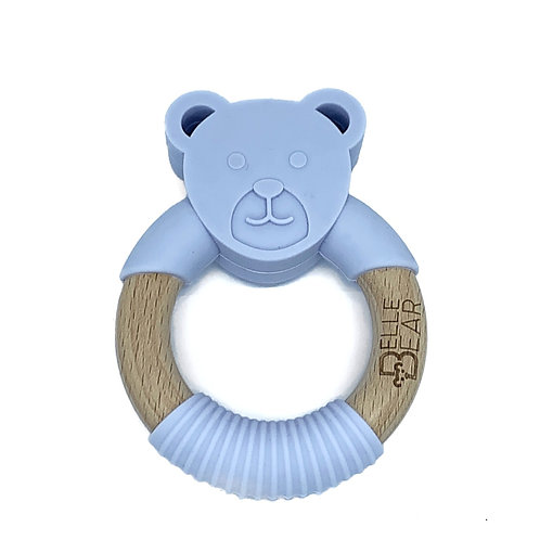 Lilac BEAR Teether Silicone & Beech