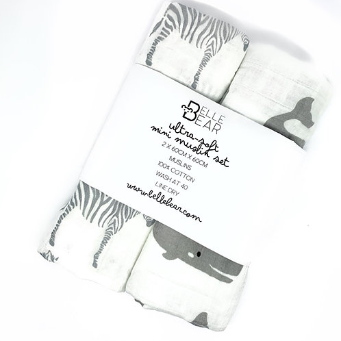 Whale & Zebra Mini Muslin Set