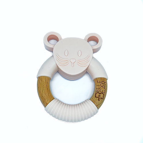 Blush MOUSE Silicone and Beech Teether