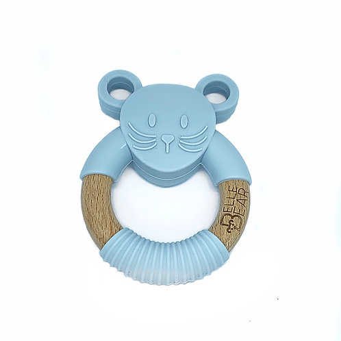 Grey MOUSE Teether Silicone & Beech