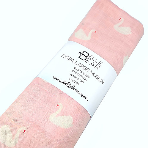 Pink Swan Extra-Large Muslin Swaddle