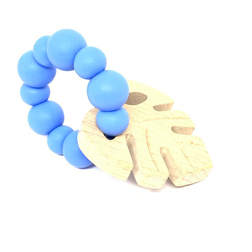 Monstera Teether in China Blue