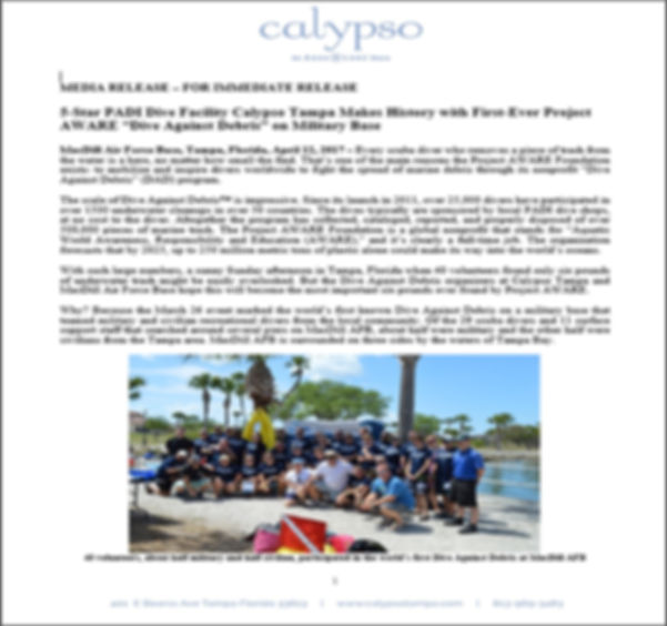 Project AWARE Dive Against Debris on MacDill AFB military base PADI
