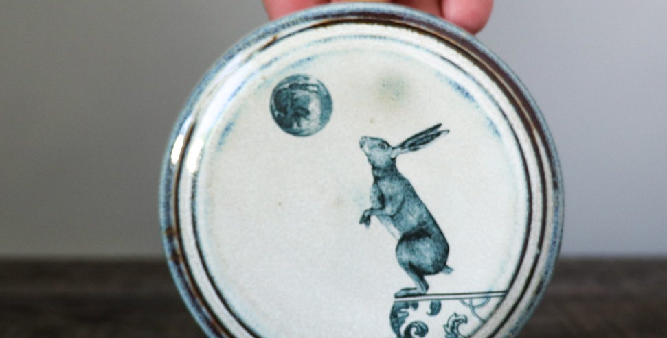 81: Round Wall Tile- Lunar Hare