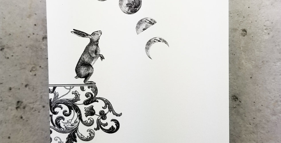Lunar Hare Moon Phases Greeting Card