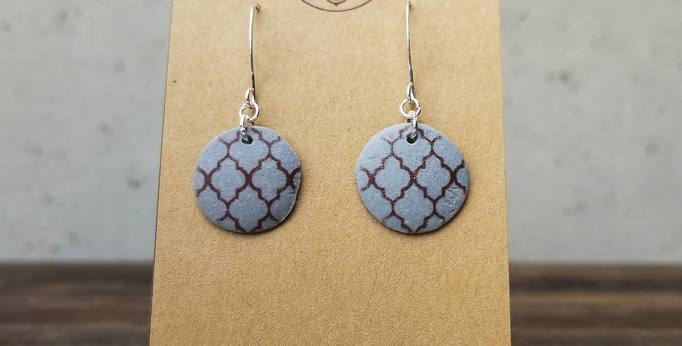 Slate Small Round Earrings