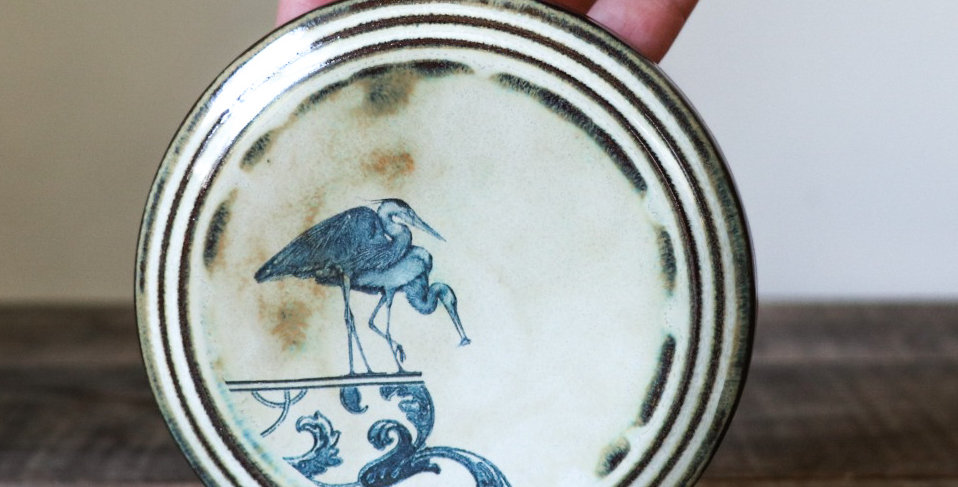 91: Round Wall Tile- Herons