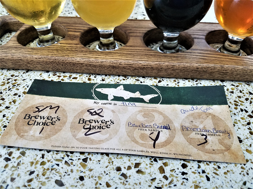 Beer tasting selection  card at Dogfish Head Brewery
