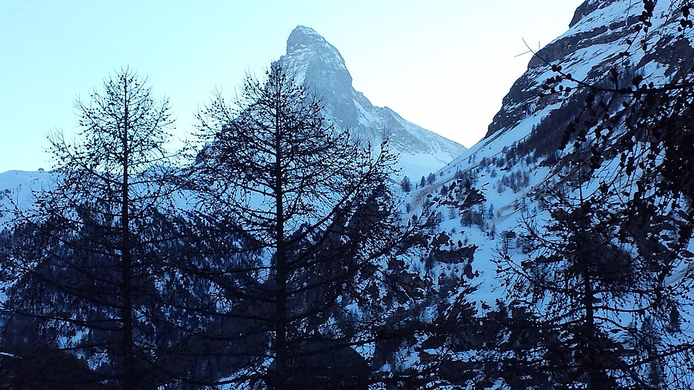 View of Matterhorn at dusk from our room. Zermatt, Zwitzerland