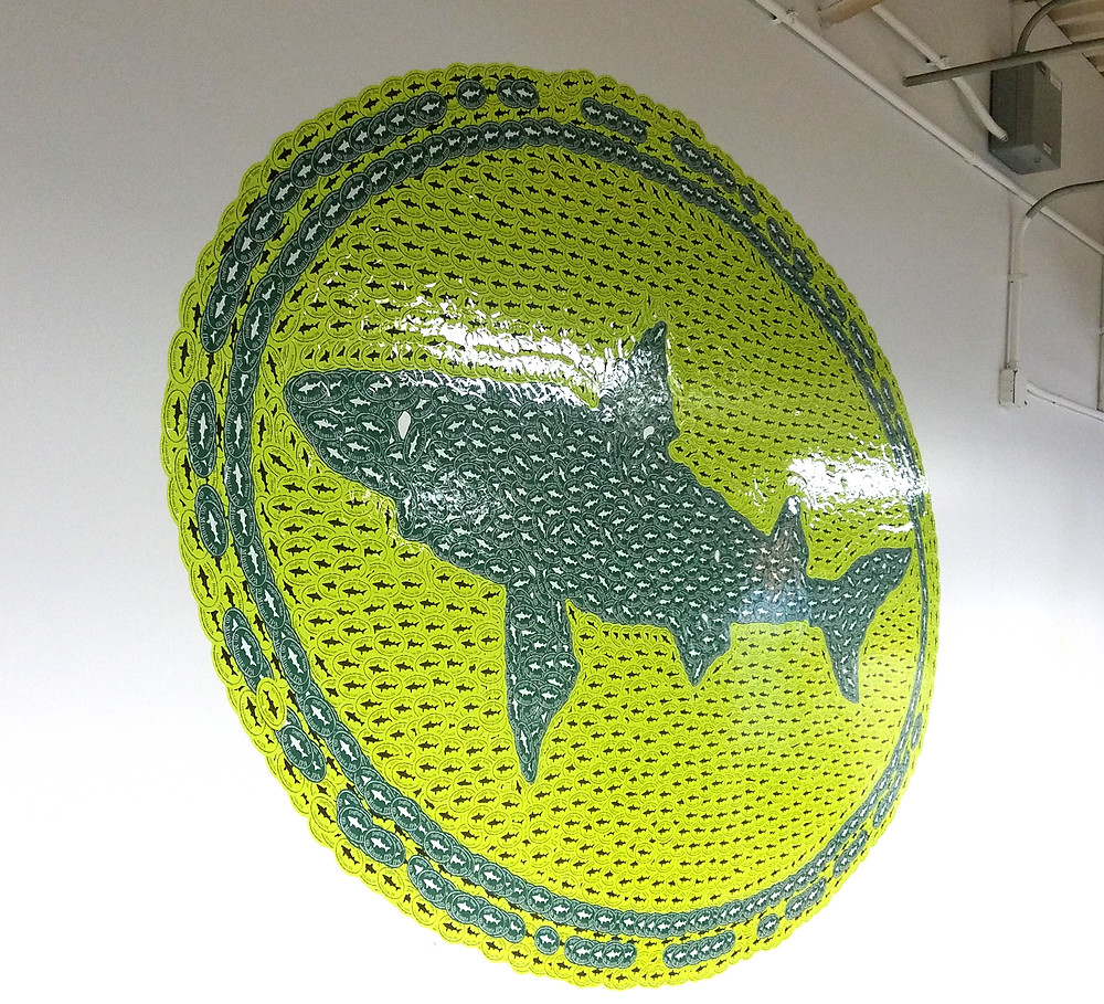 photo of stickers creating the Dogfish Head logo