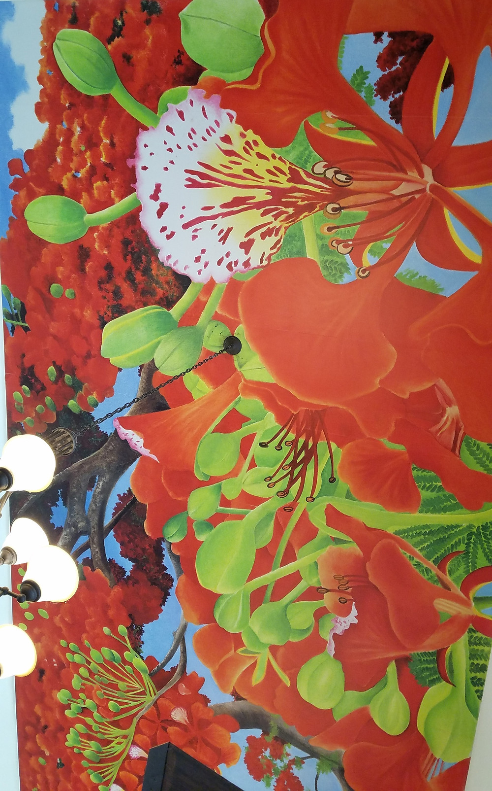 ceiling mural of orchids at Schnebly Winery, Homestead, Florida