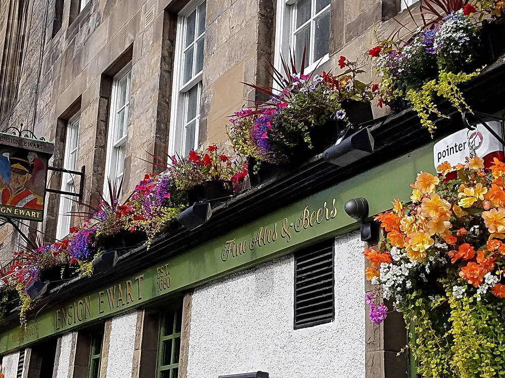 Traveleidoscope:  One of many beautiful flower boxes along the Royal Mile in Edinburgh