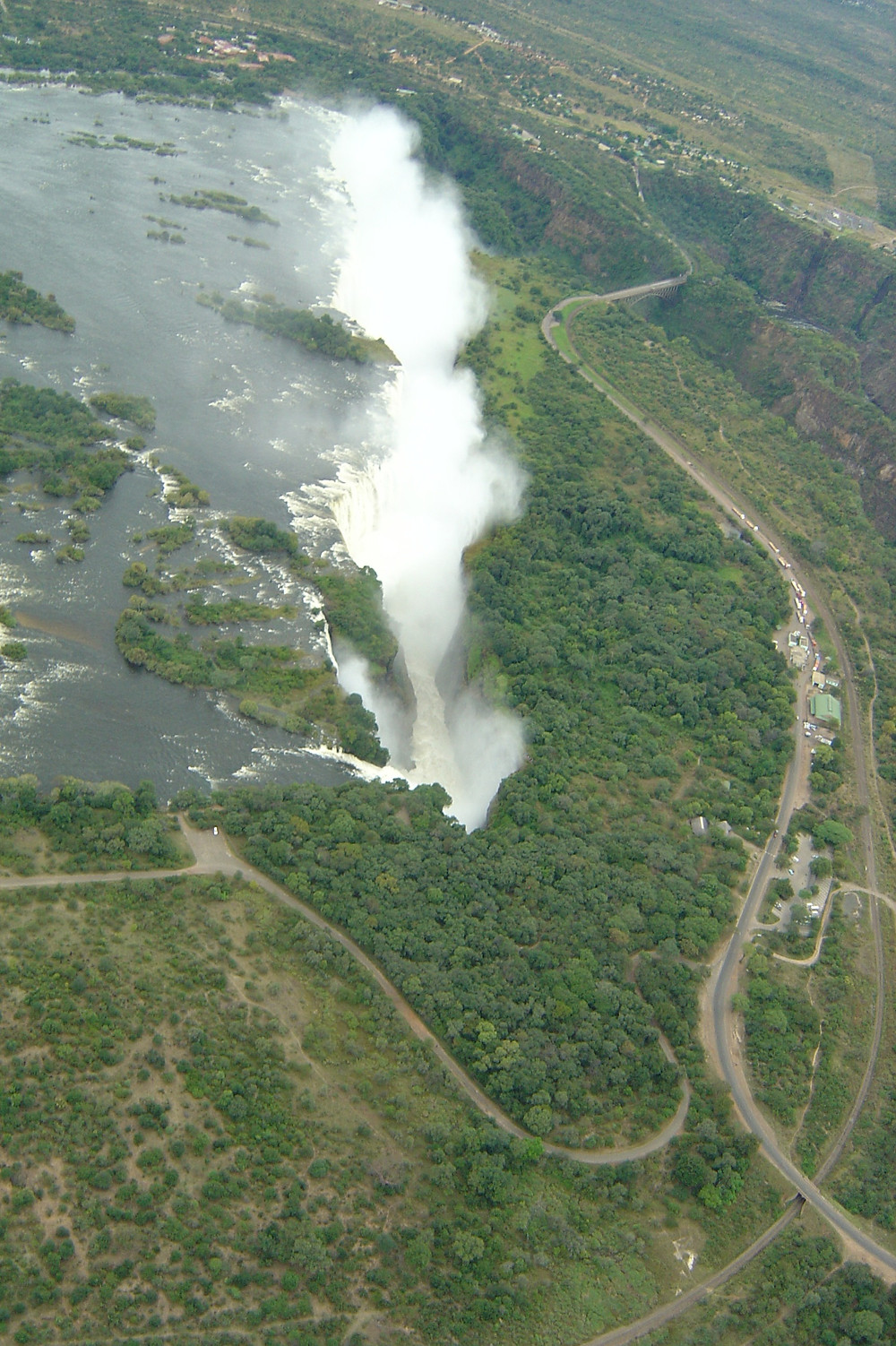 helicopter view of Victoria Falls, Zimbabwe