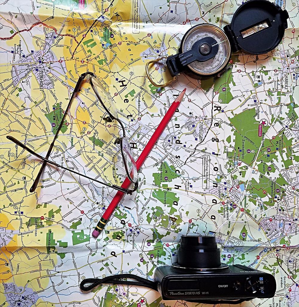 Map, Compass, Camera