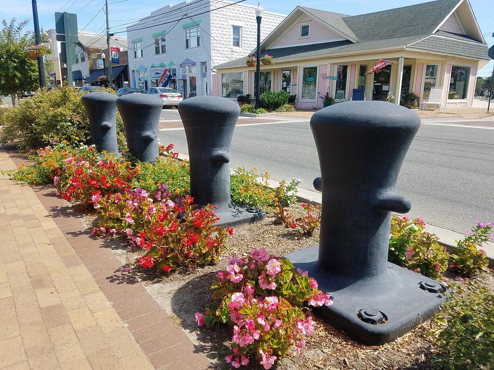 Flowers along the street of Chincoteague, Virginia
