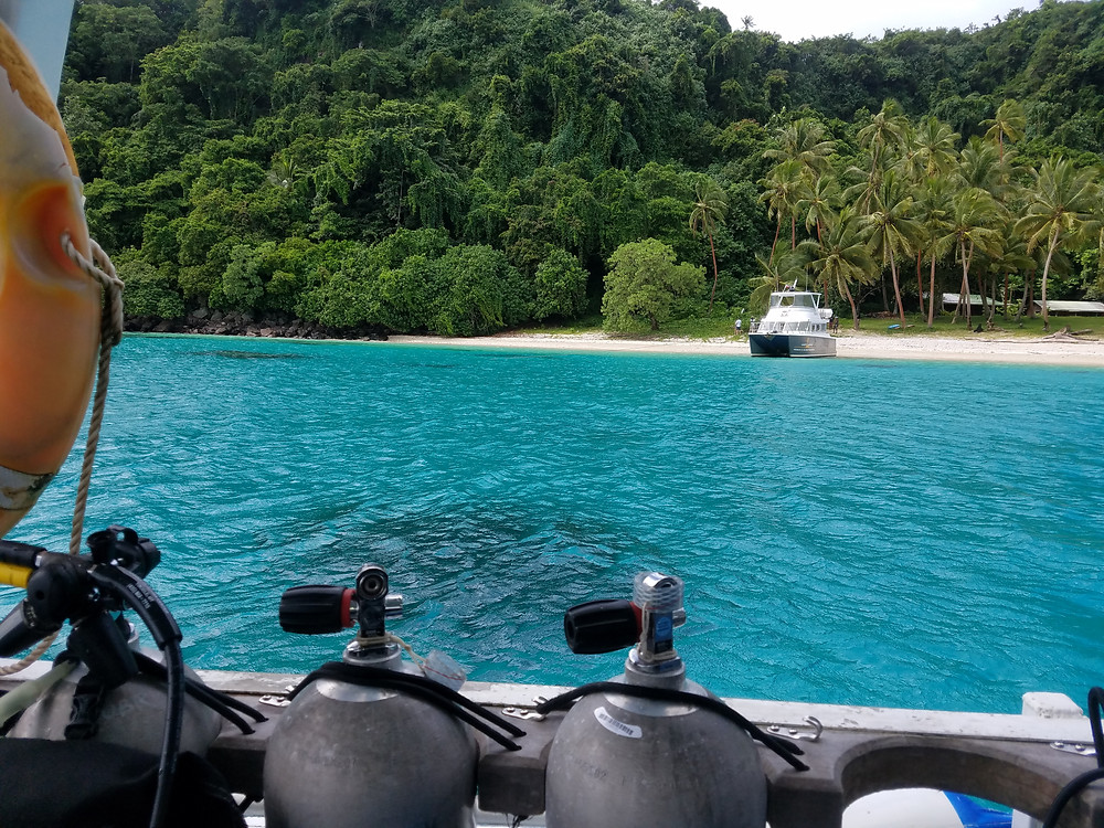 view of beach and water from dive boat in Fiji