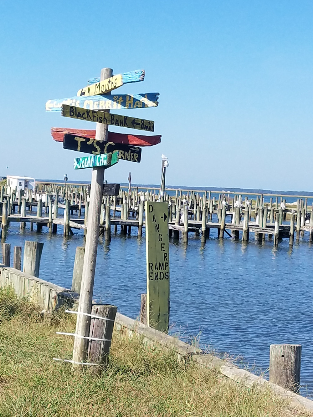 Colorful signs along the docks in Chincoteague