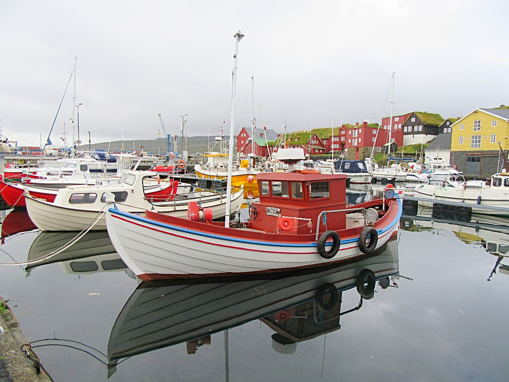 Traveleidoscope:  An adorable fishing boat in Torshavn Harbor, Faroe Islands