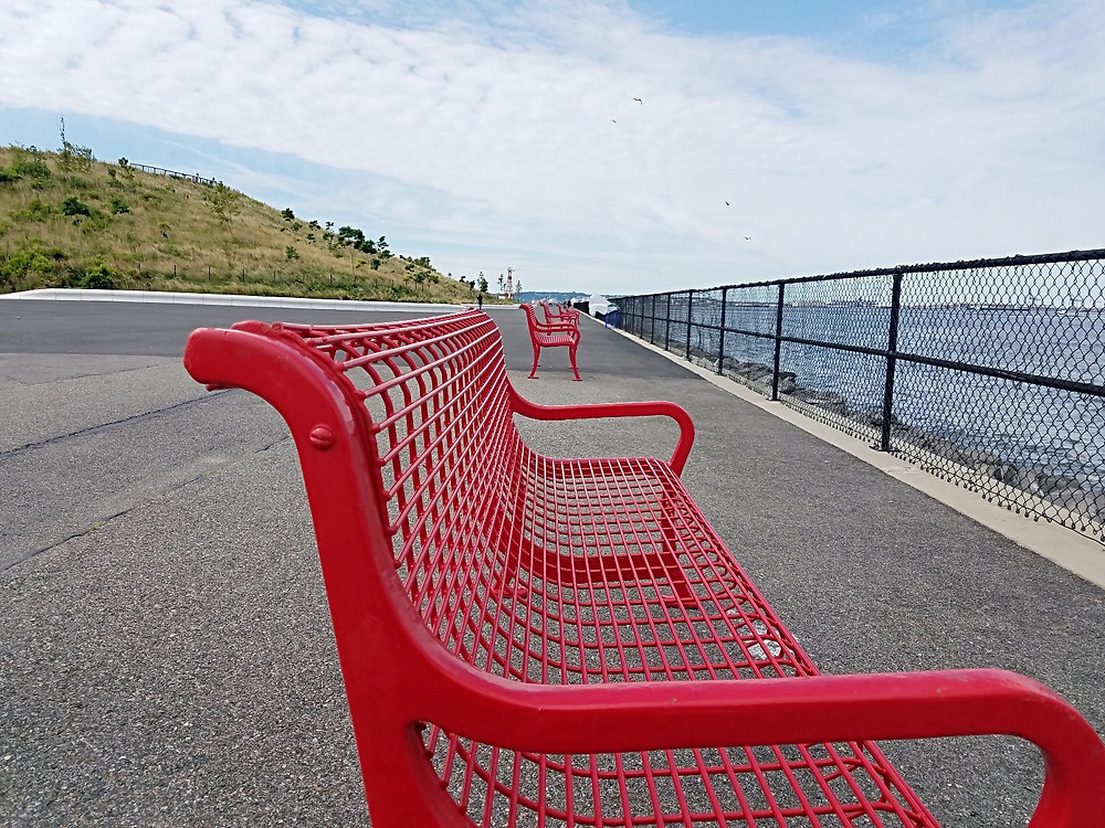 One of many colorful benches on Governors Island